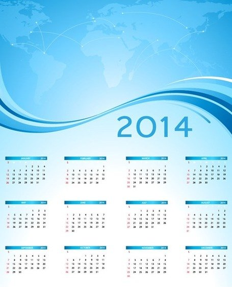 2014 Calendar with Blue World Map