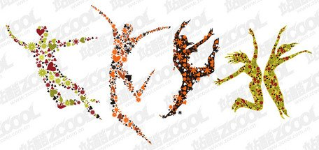 4 flowers composed of people jumping