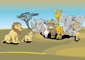 Cartoon animali africani