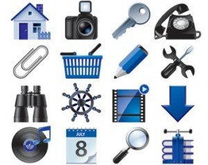 Stock Icons Vector Set voor blauwe web