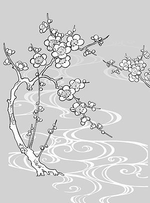 Japanese line drawing of plant flowers vector material -30 (