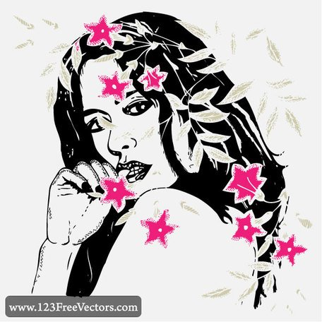 Women with Flowers Vector Art Free