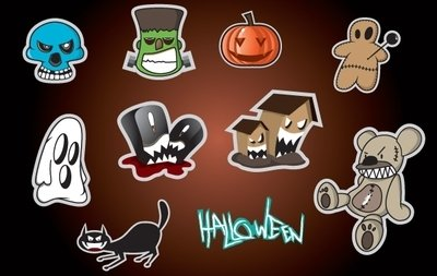 Sticker Set con objeto de Halloween