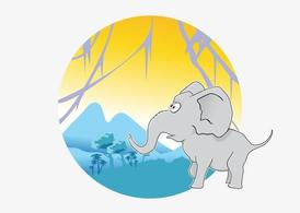 Vector Cartoon elefante