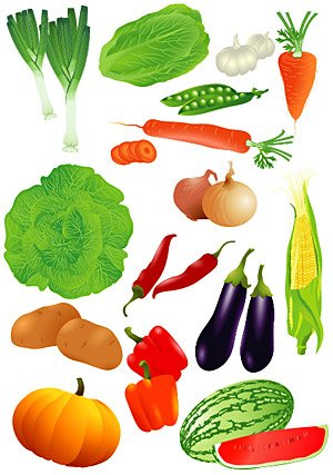 All kinds of vegetables and fruits