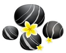 Black Stones with Flower