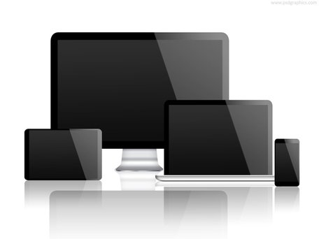 Desktop computer, laptop, tablet and smartphone (PSD)