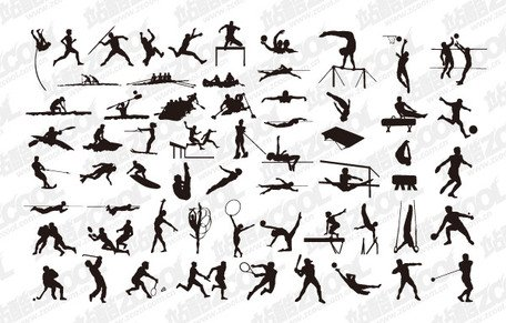 A variety of sports action silhouette vector material 1