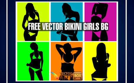 Vector Bikini Girls Pop Art estilo de fundo