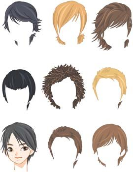 Hair Style Set for Man Clip Art, Vector Hair Style Set for Man ...