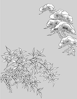 Japanese line drawing of plant flowers vector material -46 (