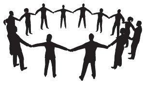 Hand in Hand circle surrounded by people silhouette material