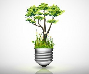 Light bulb with green tree, grass and flower