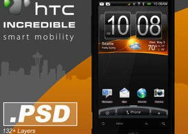 HTC incredibile Smartphone.PSD