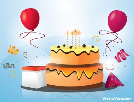Happy Birthday Cake with Candles and Balloons