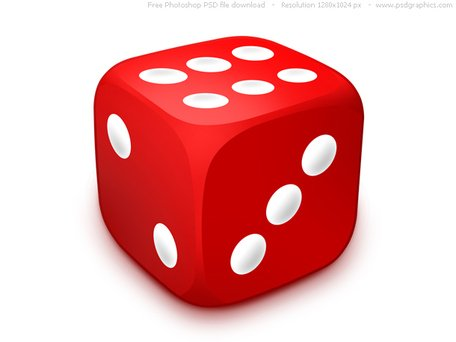 PSD red dice icon