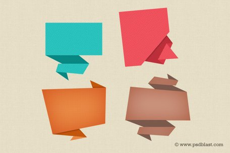 Abstracte Origami toespraak Bubble pictogram (PSD)