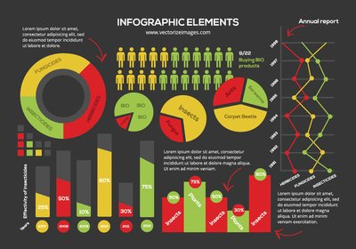 Bunte Infographik Element Pack in flache