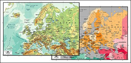 Vector map of the world exquisite material - the European ma
