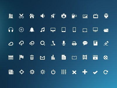 Icons(PSD) glyfů mini