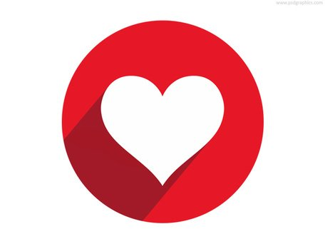 Heart shape button and icon (PSD)