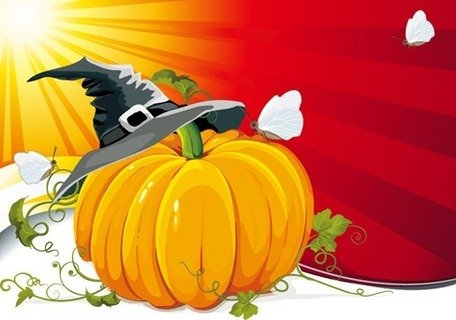 Zucca di Halloween con Ray Background