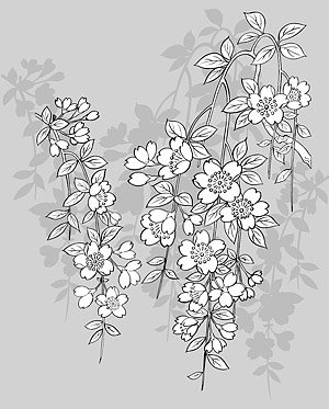 Japanese line drawing of plant flowers vector material -43 (