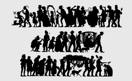 People silhouette Vector classical European and American mat