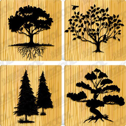 4 trees silhouette