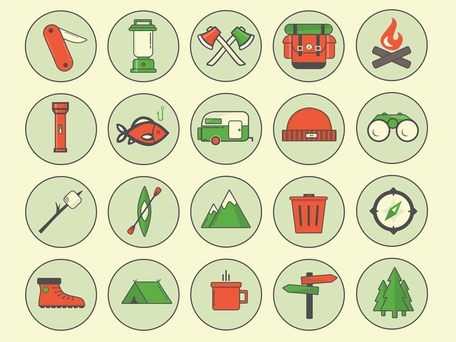 Outdoor Camping Icon Set PSD Freebie