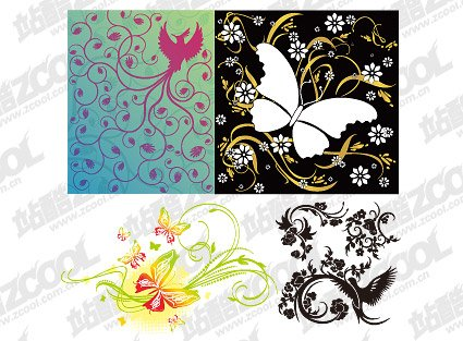 4 bird or butterfly pattern combination of