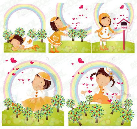 Rainbow Theme (South Korea iClickart Four Seasons cute girl