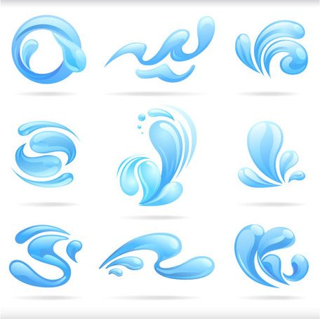 Splash of blue water drops vector illustratio