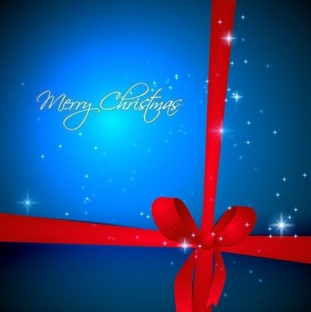 Blue Christmas Background with Red Ribbon