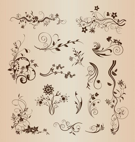 Retro Design Floral Decorative Elements Vector Set