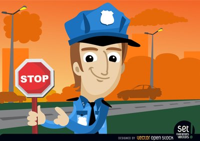 Stop sign policeman with. Free warning clipart and