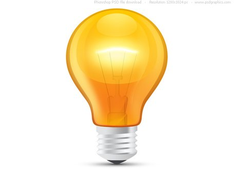 Glossy orange light bulb (PSD)