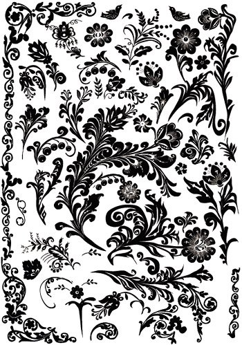 Practical several black and white rough pattern vector mater