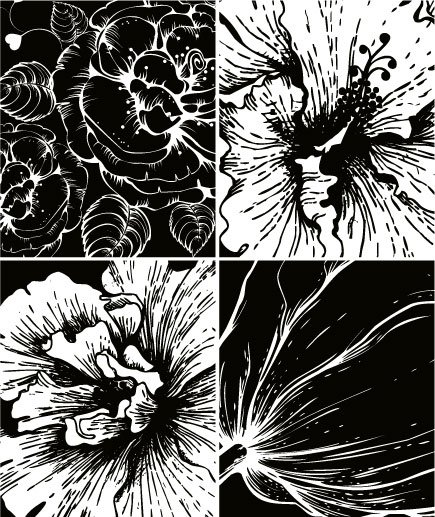 Print Flowers Vector Material -2 Prints Vector Material Black And White