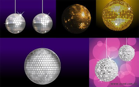 A variety of disco crystal ball