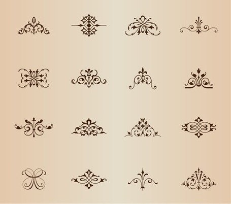 Vintage Symmetrical Floral Elements Vector Set