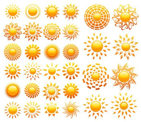 Crystal icon vector material of various solar
