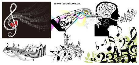 A variety of musical notes theme of