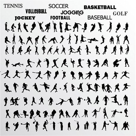 Vector silhouette of various athletes material moves