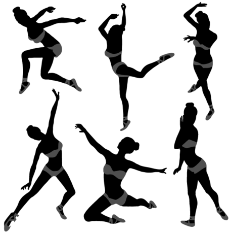 Dancing Girl Silhouettes Illustration