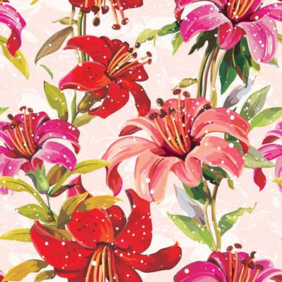 Elegance Retro red Seamless pattern with flowers narcissus