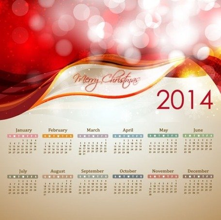 2014 Neujahr Kalender Illustration