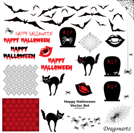 Happy Halloween Free Vector Set
