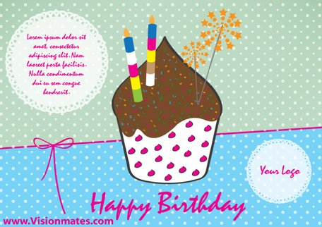 Happy Birthday Card Vector With Muffin