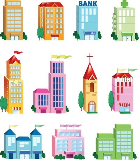 Edifício vector Icon Set